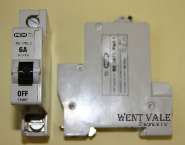 MEM Memshield 1 - 61MB2 - 6a Type 2 Single Pole MCB Un-used